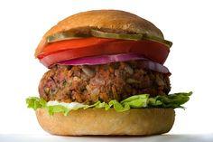 CHOW Veggie Burger recipe: brown lentils, mushrooms, tvp, rice, zucchini, onion, carrot, beet, sunflower seeds, panko, tomato paste, egg