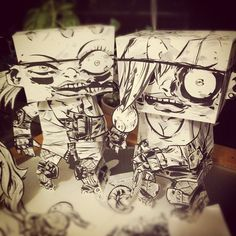 The originals for my Night of the Exquisite Corpse zombie paper toys