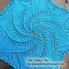 Laura-aerial-detail_small2 Dishcloth Knitting Patterns, Knit Dishcloth, Knitting Stitches, Knitting Designs, Free Knitting, Baby Knitting, Doily Patterns, Star Patterns, Stitch Patterns