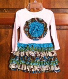 Pat made this cute ruffle T-shirt dress using the RUFFLE RUMBA pattern.