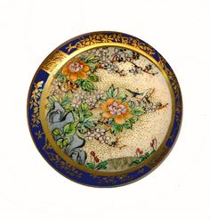 Image Copyright RC Larner ~ Button ~ Superb Very Large 19th C. Satsuma Pottery with Cherry Tree Border on Cobalt ~  R C Larner Buttons at eBay & Etsy        http://stores.ebay.com/RC-LARNER-BUTTONS and https://www.etsy.com/shop/rclarner