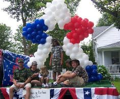 red white blue floats balloon theme party decorations ballon bouquets delivery in ny - Float Decorations