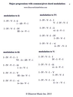 Chord Progression with Modulation Discover Guitar Online, Learn to Play Guitar Music Theory Guitar, Music Chords, Guitar Chords, Music Guitar, Piano Music, Playing Guitar, Guitar Notes, Learning Guitar, Guitar Lessons For Beginners