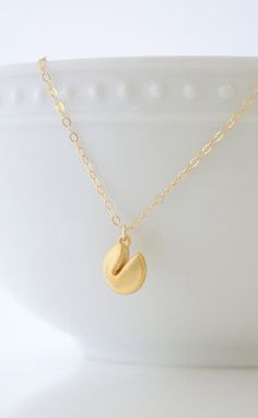 Gold Fortune Cookie Necklace fortune cookie