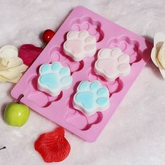 Poproo 6-Cavity Silicone Muffin Cups - Handmade Soap Molds - Biscute Chocolate Ice Cake Baking Pan - Large Flower, Snowflakes, Paw Print (Set of 3)