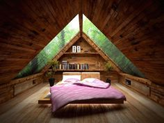 Image 34 of 40 from gallery of Cozy Small Attic Bedroom Design and Decorating Ideas. Amusing small attic bed room idea with ceiling design idea plus glass roof also pink bed for wooden floor Attic Bedroom Designs, Attic Bedroom Small, Attic Bedrooms, Bedroom Loft, Bedroom Ideas, Bedroom Decor, Attic Closet, Attic Bathroom, Attic Office