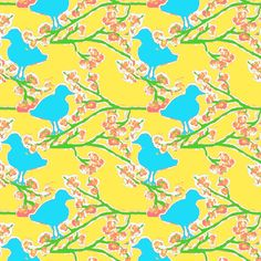 bubblegum blossoms and blue bird ©2012 Jill Bull fabric by fabricfarmer_by_jill_bull on Spoonflower - custom fabric