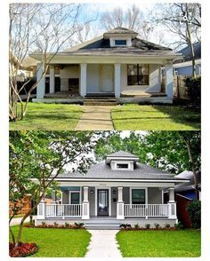 These before and after the house Makeovers will immediately inspire your DIY project - before after home Home Exterior Makeover, Exterior Remodel, Front Porch Makeover, Home Renovation, Home Remodeling, Small House Renovation, Exterior Renovation Before And After, Kitchen Renovations, Bathroom Remodeling