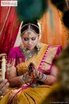 Tamil Hindu Wedding Ceremony Bride Silk Kanchipuram Saree Bangles Kundan Jewellery - more inspiration @ http://www.ModernRani.com