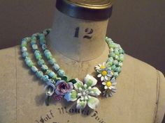 Vintage enameled flower statement necklace ~ by Kurstyn, $89.00 ~ so inspiring!