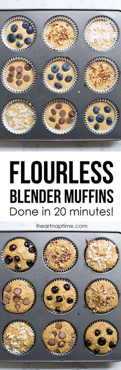 flourless blender muffins made in less than 20 minutes and are under 100 calories this