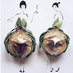 """This Instagram Takes Playing With Food To The Next Level #refinery29  http://www.refinery29.com/gretchen-roehrs-food-fashion-illustrations#slide-10  Any tricks or tips you can share with us?""""Buy the ugly produce — it tastes way better."""""""