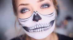 Half-Skull | 19 Creepy AF Halloween Makeup Ideas That Will Scar You Forever