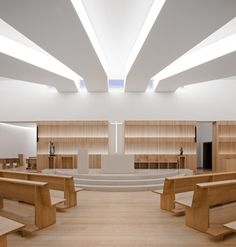 modern church.   Blend of light wood and white.What do you think of the blend of light wood and white.  I think it is very serene.
