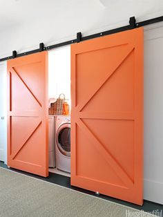 Disguise your laundry room with bright sliding doors...or alternative to pocket doors