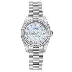 Pre-Owned Rolex Lady-Datejust President Automatic Platinum & Diamonds (179136)