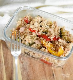 Couscous d'épeautre complet aux légumes grillés et au thon  4 déjeuners healthy et IG bas à emporter 4 healthy lunchboxes ideas