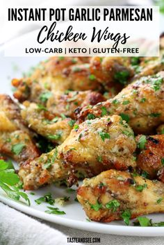 These Instant Pot Garlic Parmesan Chicken Wings are an amazing appetizer recipe! - These Instant Pot Garlic Parmesan Chicken Wings are an amazing appetizer recipe! Crispy and golden - Parmesan Chicken Wings, Chicken Parmesan Recipes, Instapot Recipes Chicken, Low Carb Chicken Wings, Parmesan Wings Recipe, Chicken Drumstick Recipes, Garlic Recipes, Garlic Parmesan Wings Fried, Amazing Chicken Recipes