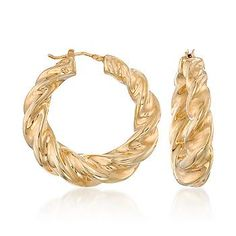 Italian Vermeil Twisted Hoop Earrings with  thick and luxurious, chunky, glossy twists.