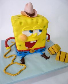 Another one of my son's birthday cakes. He loves spongebob.