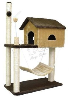Arranhador Para Gato Casa Com Rede - R$ 179,00