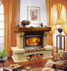 ARTISTIC STONE FIREPLACE WITH WOOD MANTLE AND LOG STORAGE BELOW HEARTH