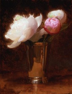 Peonies in a Silver Cup II, Jacob Collins 2007
