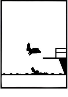 Diving Rabbit print — #elds #coolprints #eastlondondesignstore www.eastlondondesignstore.com