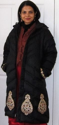 Patagonia down coat embellished by me, paisley wool jacket, black fleece turtleneck, Max & Co wool skirt, fashion and fashion earrings - 2016
