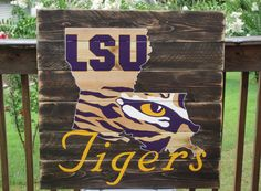 LSU Tiger Eye wood sign 36x36 reclaimed wood by LouandElle on Etsy, $275.00