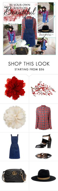 """""""You inspire me"""" by krystalkm-7 ❤ liked on Polyvore featuring Gucci, Brewster Home Fashions, R13, M.i.h Jeans, Jeffrey Campbell and Janessa Leone"""