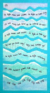Poem about the sea - paint watercolors to make a sea colored background, sprinkle with salt then wipe away when dry, tear in wavy strips and glue onto blue background, write 1 line on each strip.