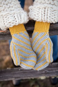 Slanted Garter Mittens - Knitting Patterns and Crochet Patterns from KnitPicks.com by Edited by Knit Picks Staff