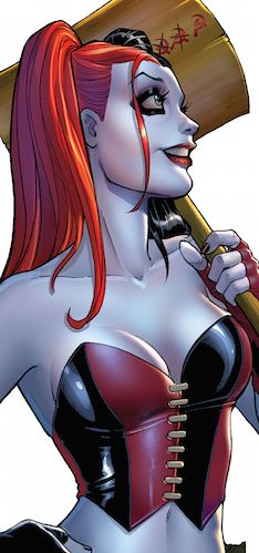 Harley Quinn as she appears in the New 52; art by Amanda Conner.