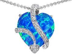 Star K 15mm Heart Shape Simulated Blue Opal Love Pendant
