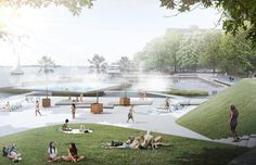 View from the park towards the pools, image courtesy of Stoss Landscape Urbanism, nARCHITECTS, ZAS Architects