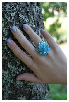 Aqua blue Swarovski beads ring. €10.00, via Etsy.