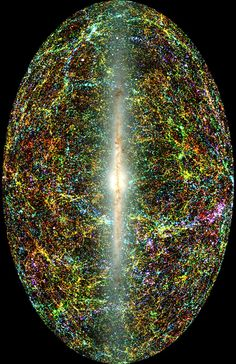 This all-sky view of the entire near-infrared sky reveals the distribution of galaxies beyond the Milky Way.