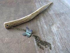 Butterfly Hair Stick Deer Antler  GLORIA  Dangle by plainsrevival