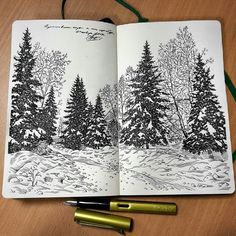 Lovely #fountainpen #nature #drawing by Alexey Pastukhov (@alexsaypast) of some snow-covered trees. Alexey drew this with his Lamy Al-star fountain pen and it provided a great bit of subtle variation in the width of his lines that give the textures of the snow and details on the deciduous trees a good natural look. Love the snow packs that have gathered on the evergreen trees (spruce and fir perhaps?) and how Alexey was able to show a subtle path running between the trees and hilly snow…