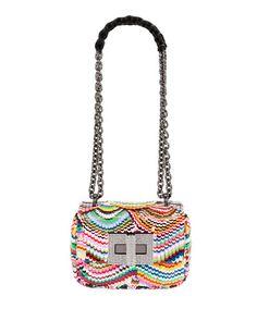 V3XXV TOM FORD Natalia Small Soft Carioca Embroidered Rainbow Shoulder Bag