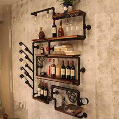 Home Bar Designs Decor Wine Racks 18 Ideas For 2019 Industrial Wine Racks, Industrial Pipe, Wine Rack Design, Pipe Decor, Home Bar Designs, Wine Rack Wall, Pipe Shelves, Pipe Furniture, Furniture Ideas