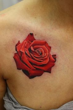 Realistic Red Rose Tattoo - John Anderton http://tattoosflower.com/realistic-red-rose-tattoo-john-anderton/