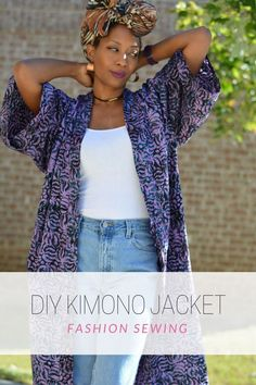 Quick and easy diy fall kimono coat. No pattern required and a super simple sewing project to make in your favorite fabric. It's perfect in cooler months and roomy enough to layer. Breezy in warmer months. Long layered clothing.