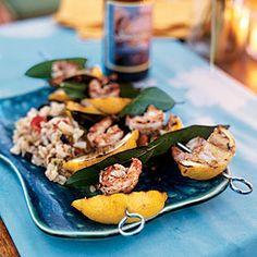 Shrimp on the Grill - Grilled Lemon-Bay Shrimp - Cooking Light Best Shrimp Recipes, Seafood Recipes, Grilling Recipes, Cooking Recipes, Healthy Recipes, Healthy Grilling, Healthy Dishes, Shrimp On The Barbie, Clean Eating