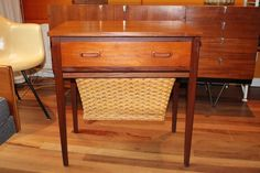 Image of Lovely Vintage Danish Teak & Rattan Sewing Table & Contents made c1960 for Heals
