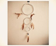 Dream Catcher - Sparkling Childhood - With Glitter Powderd Shelles, Natural Brown Feathers and Light Blue Nett