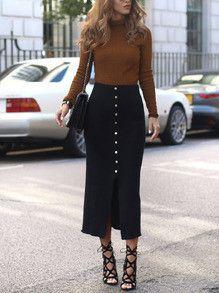 High Waisted Black Button Up Skirt