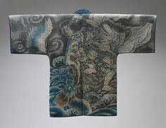 Japanese firefighter's coat with Susanoo-no-mikoto and the eight-headed and eight-tailed dragon (yawata no orochi) described in Japan's earliest history, the Kojiki (Record of Ancient Matters). Vivid blue waves fill nearly half the spectacular background, while exquisite swirls of gray smoke rise above.  Edo period (1615–1868), 19th century