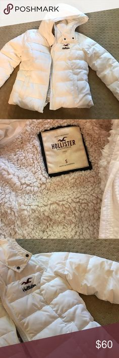 Hollister White Puffy Jacket with Fur White Hollister Puffy Jacket, perfect for the cold weather! Worn once & in perfect condition! Fluffy on the inside, so comfortable and warm! Willing to negotiate so feel free to make an offer! 😊 Hollister Jackets & Coats Puffers